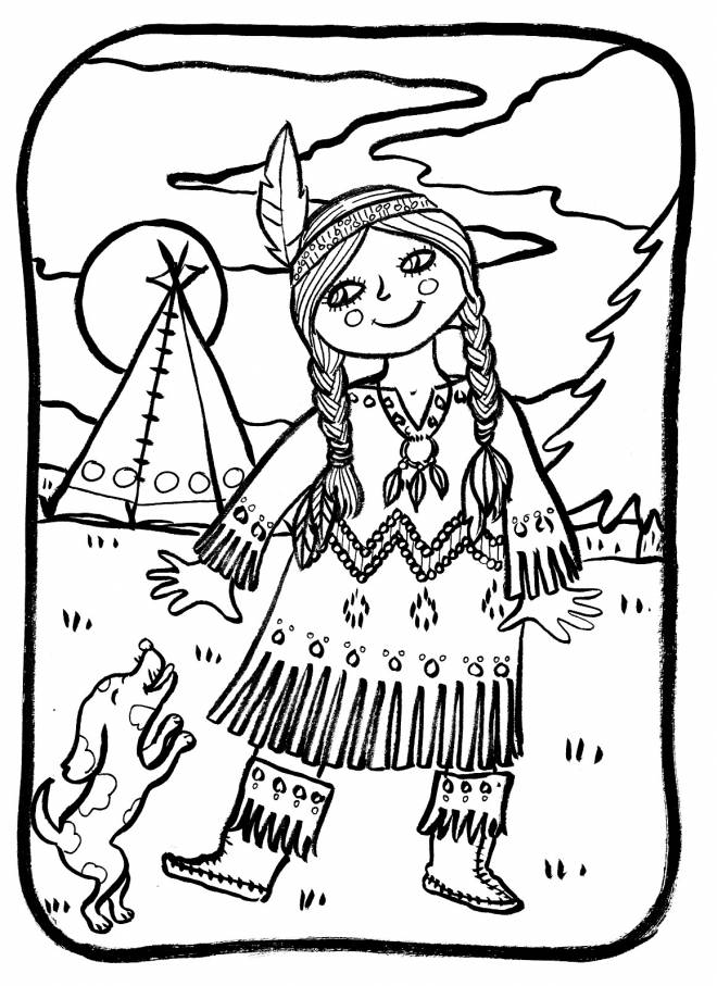 Free coloring and drawings A little Indian girl while smiling Coloring page