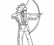 Coloring pages Indian and bow