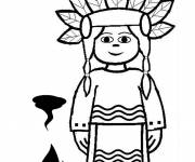 Coloring pages Indian girl