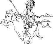 Free coloring and drawings Indian on his horse Coloring page