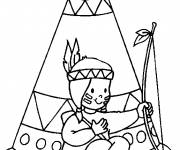 Coloring pages Indian woman in front of her tent