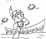 Free coloring and drawings Little Indian girl in the ship Coloring page