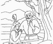 Free coloring and drawings Baptism of Jesus in the River Coloring page