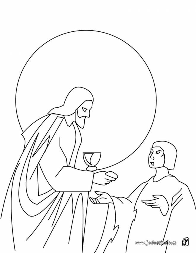 Free coloring and drawings Color stylized jesus Coloring page