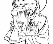 Coloring pages Jesus and a little girl