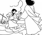 Coloring pages Jesus and His Disciples in The Sea