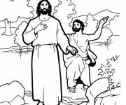 Coloring pages Jesus and His Disciples in vector