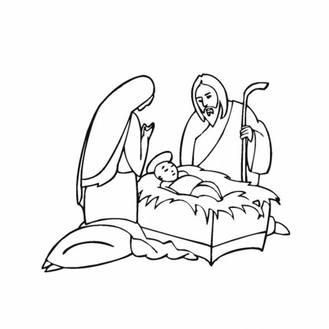 Free coloring and drawings Jesus and mary Coloring page