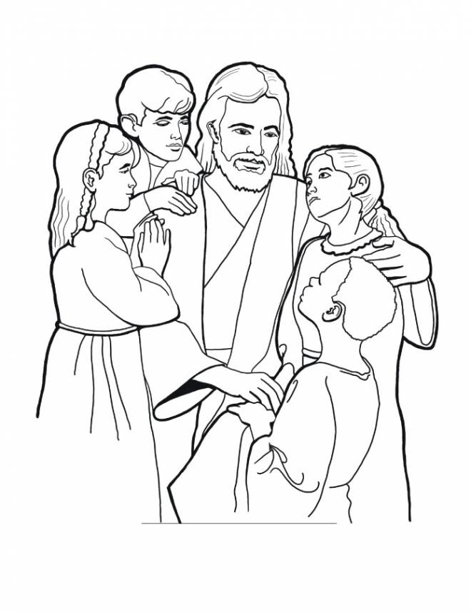 Free coloring and drawings Jesus and the Children Coloring page