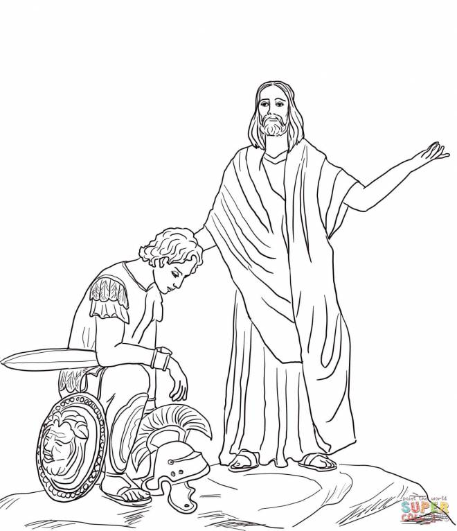 Free coloring and drawings Jesus and the Roman Soldier Coloring page
