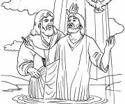 Coloring pages Jesus Baptism