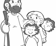 Coloring pages Jesus Christ and Children Online
