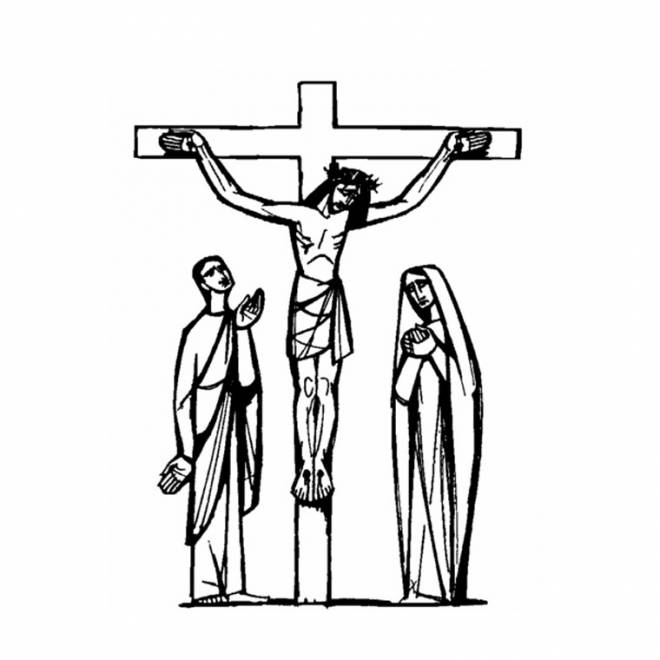 Free coloring and drawings Jesus crucified Artistic Coloring page