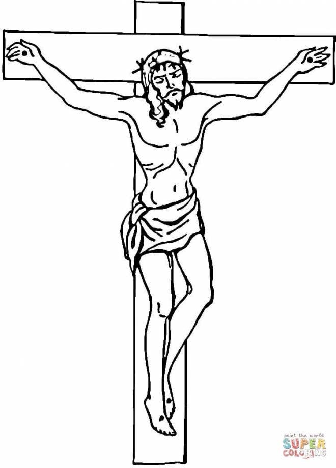 Free coloring and drawings Jesus crucified on computer Coloring page