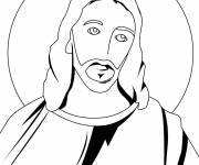 Free coloring and drawings Jesus in vector Coloring page