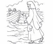 Coloring pages Jesus on the Sea