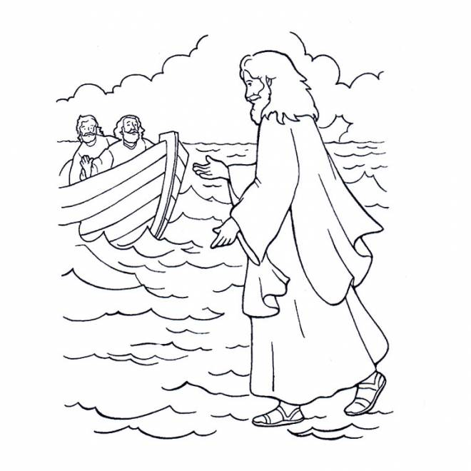 Free coloring and drawings Jesus on the Sea Coloring page
