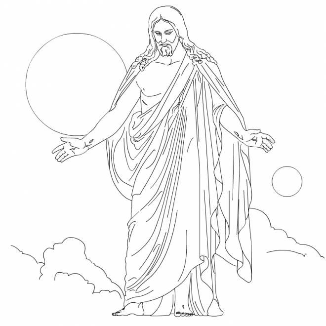 Free coloring and drawings Jesus prays Coloring page