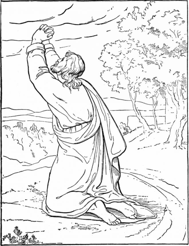 Free coloring and drawings Jesus speaks to God Coloring page
