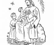 Coloring pages Jesus surrounded by Children