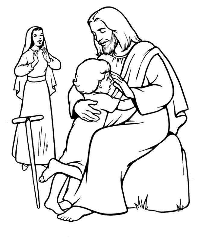 Free coloring and drawings Jesus the Lord with a Child Coloring page
