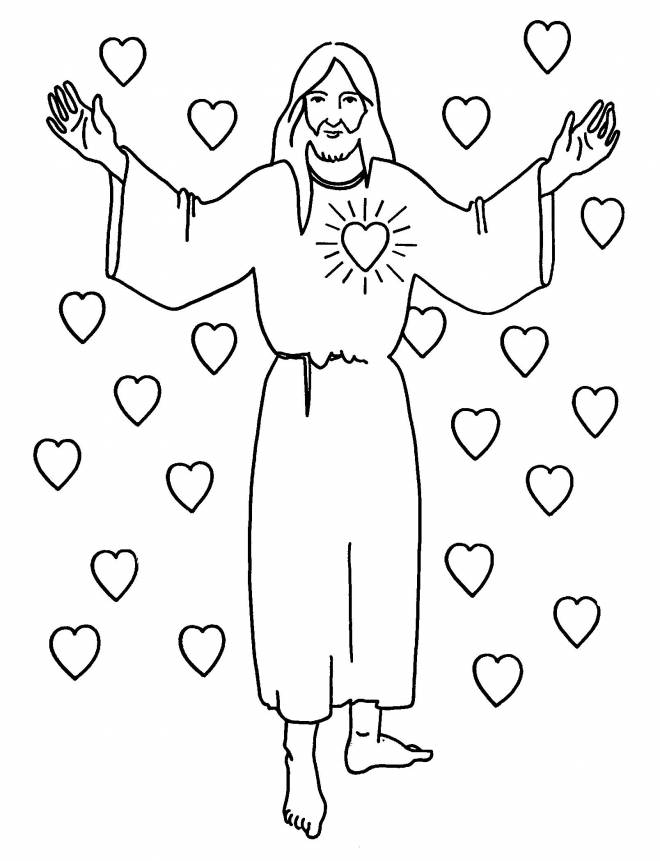 Free coloring and drawings Love of jesus Coloring page