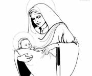 Coloring pages Mary and The Little Jesus vector