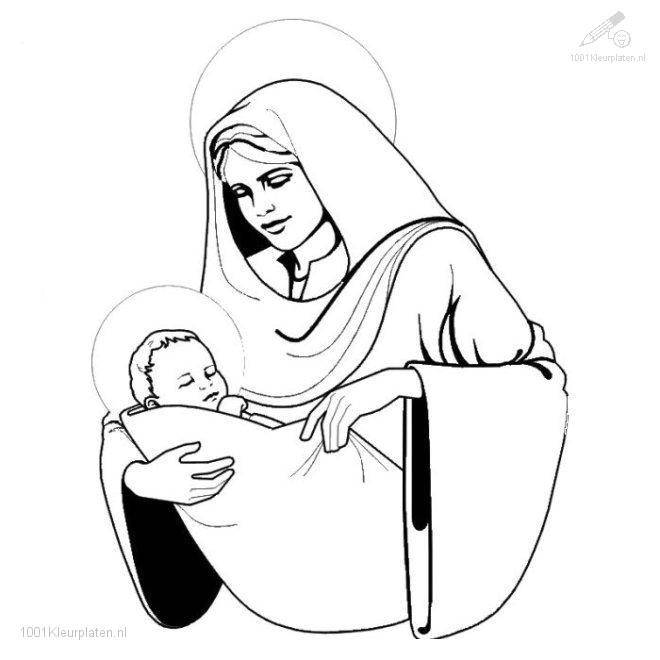 Free coloring and drawings Mary and The Little Jesus vector Coloring page