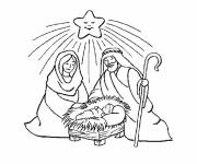 Coloring pages Mary joseph and jesus