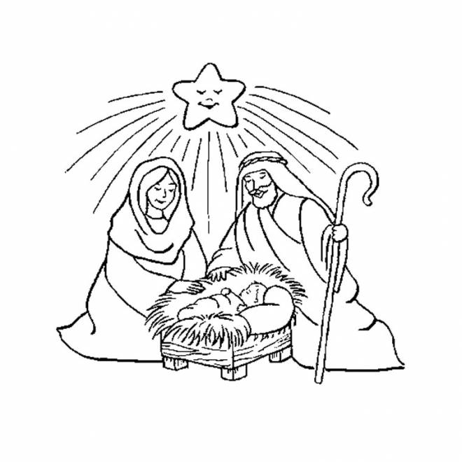 Free coloring and drawings Mary joseph and jesus Coloring page