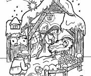 Coloring pages Nativity scene in color