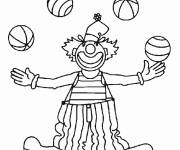Free coloring and drawings A juggling clown with four balls Coloring page