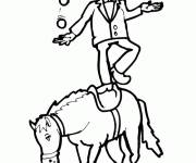 Coloring pages Juggler on Horse