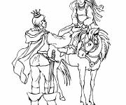 Coloring pages Knight and princess