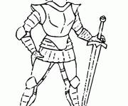 Coloring pages Knight in armor for free