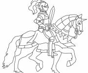Coloring pages Knight on his horse