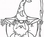 Coloring pages Magician and his Magic Staff