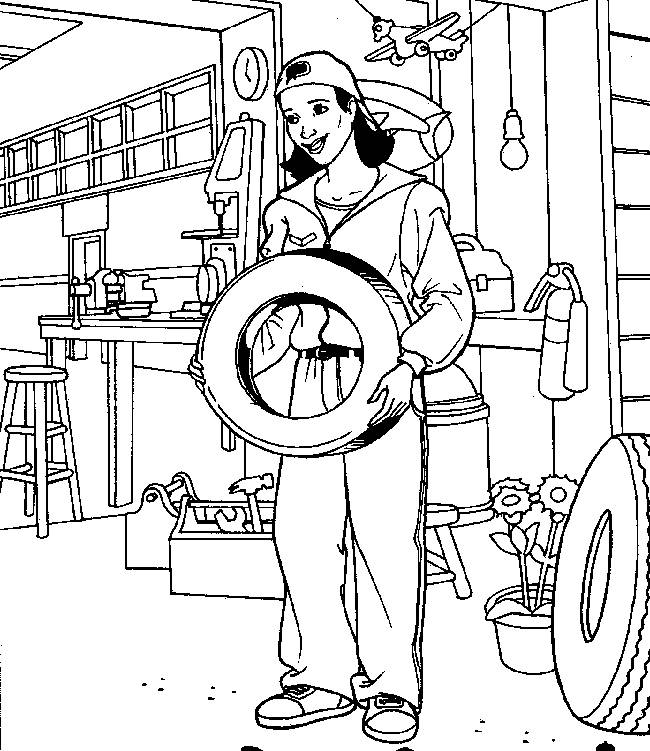 Free coloring and drawings A mechanic Coloring page