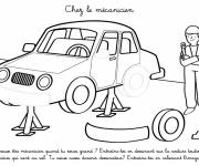 Free coloring and drawings At the mechanic Coloring page