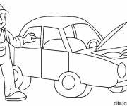 Free coloring and drawings Car mechanic Coloring page