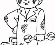 Free coloring and drawings Child Mechanic Coloring page