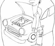 Free coloring and drawings Mechanic and car repair Coloring page