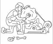 Free coloring and drawings Mechanic and engine of a car Coloring page