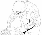 Free coloring and drawings Mechanic wears his suit Coloring page