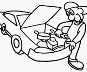 Free coloring and drawings Online mechanic Coloring page