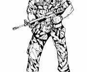 Coloring pages Military soldier ready for battle