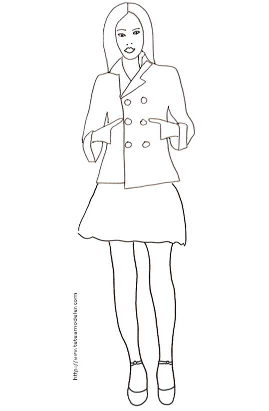Free coloring and drawings A beautiful Top Model Coloring page