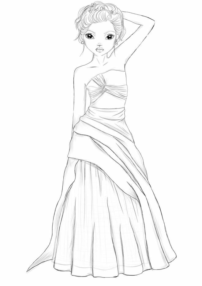 Free coloring and drawings A cute model Coloring page