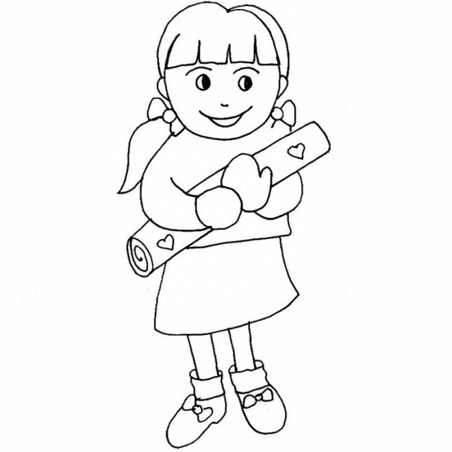 Free coloring and drawings A girl carries a gift for Mom Coloring page