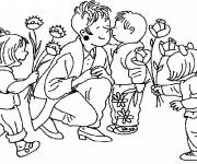 Coloring pages Children give flowers to their mom